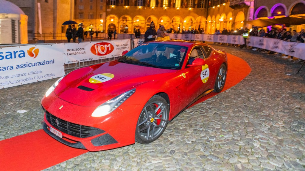A Ferrari pull into a plaza in Things to do in Emilia-Romagna