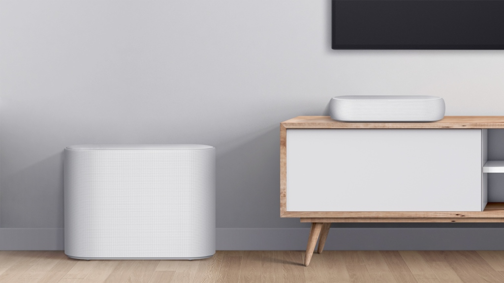Lg Ecl;air soundbar and subwoofer in a minimalist living room