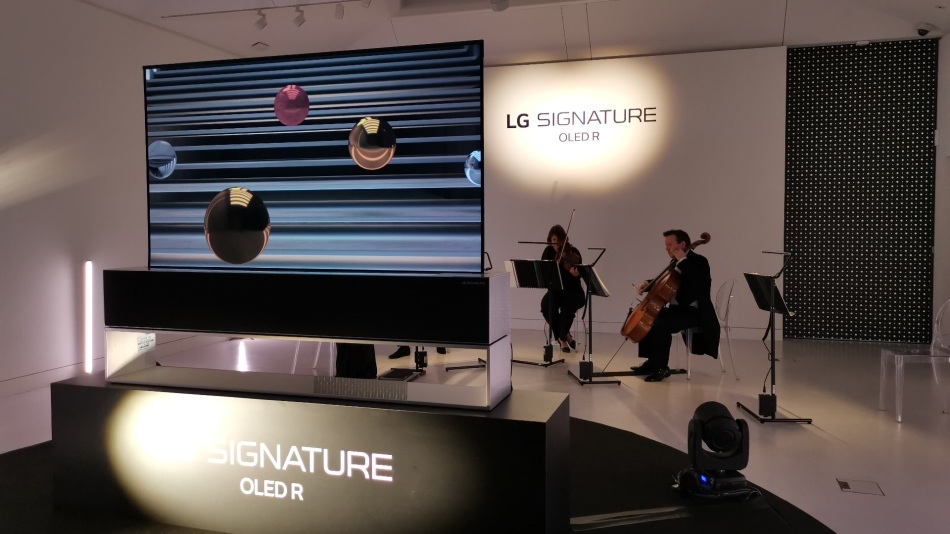 LG Signature OLED R TV on display at Cromwell Place, an orchestra plays in the background