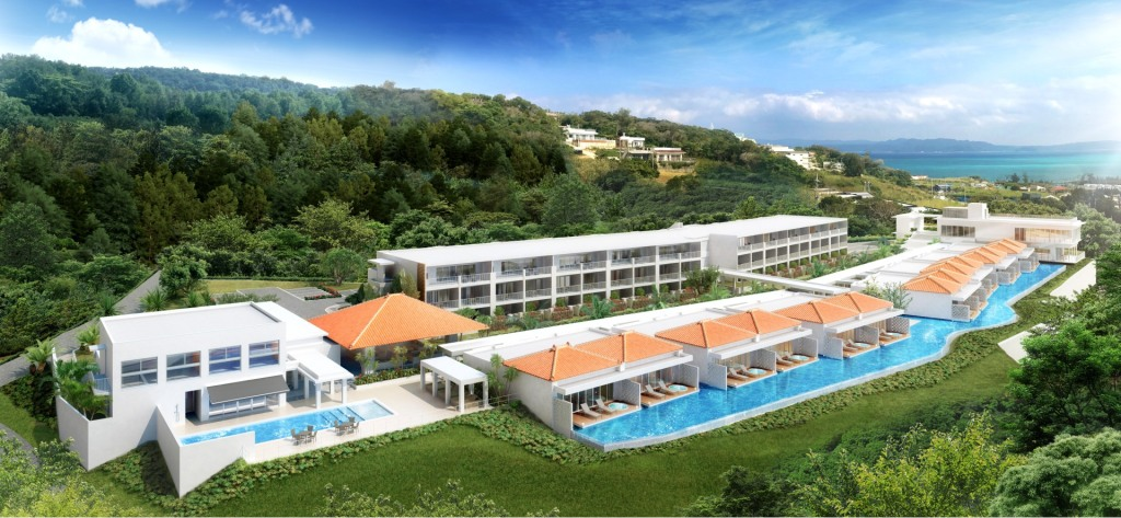 Aerial view of the LOISIR Terrace & Villas KOURI with infinity pools