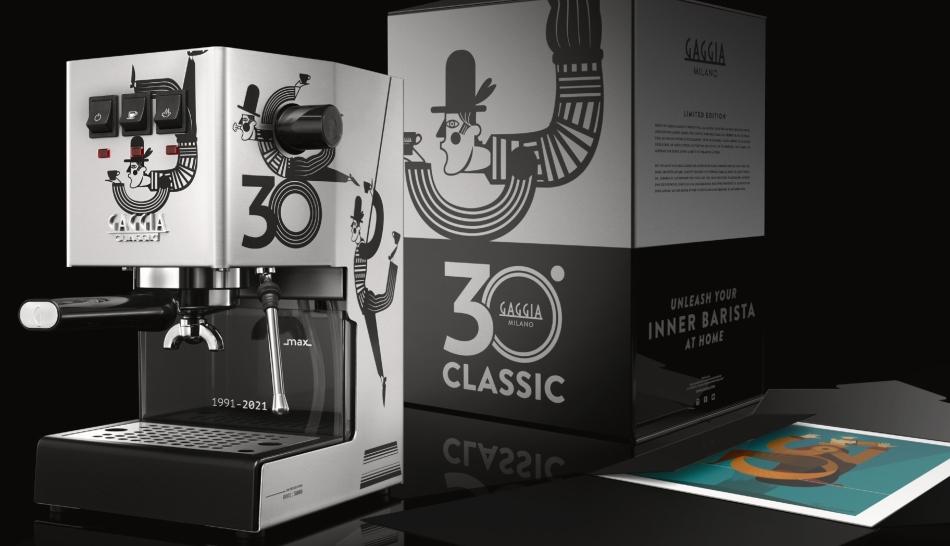 Gaggia Classic 30 anniversary edition espresso maker with box and art print