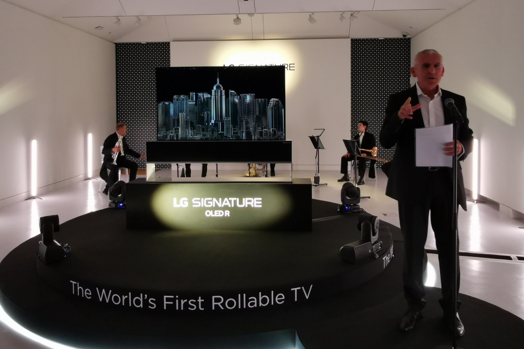 LG commercial Director Peter Booth introduces the OLED R TV