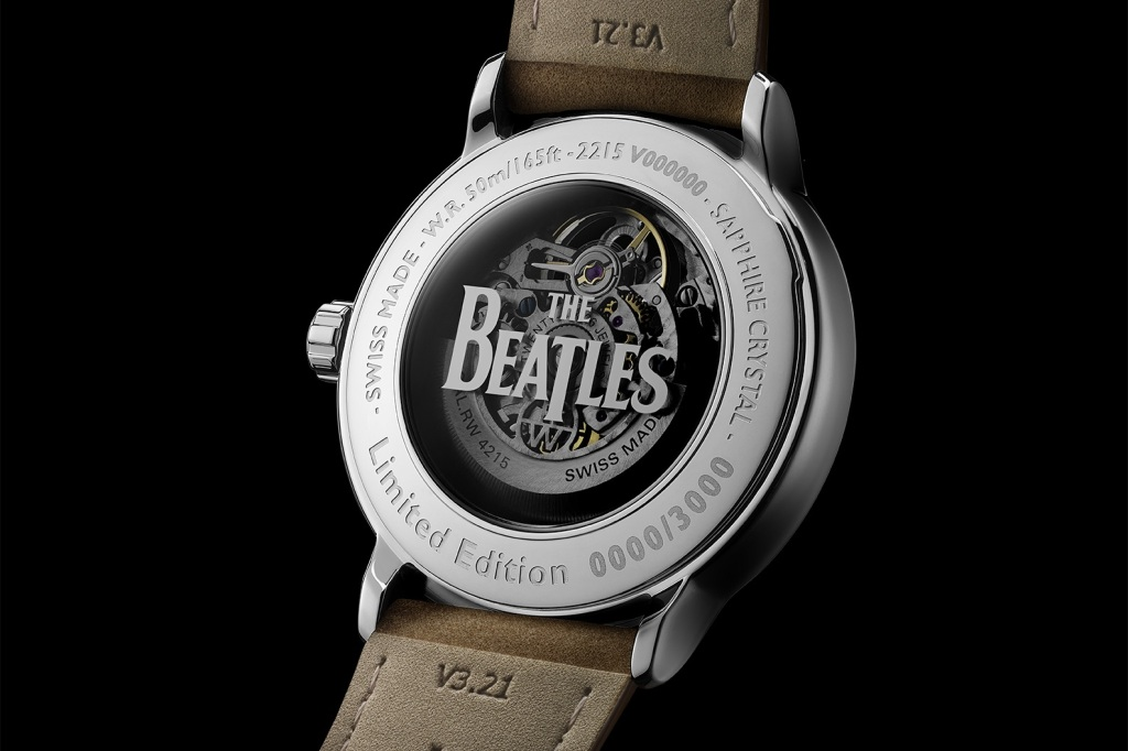The back of the Raymond Weil Beatles watch Let it Be edition with Beatles logo