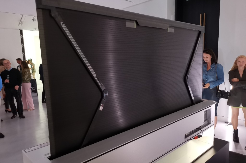A rear view of the rollable OLED R TV at its London launch