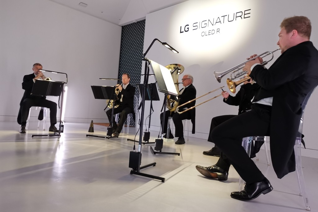 Members of the Royal Philharmonic play at the launch of the LG OLED R