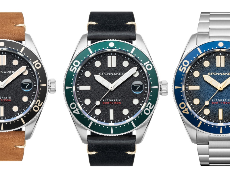 A trio of Spinnaker Croft Mid-Size dive watches with different straps
