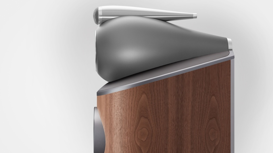 A profile view of the Bowers and Wilkins 803 D4 Satin Walnut speaker
