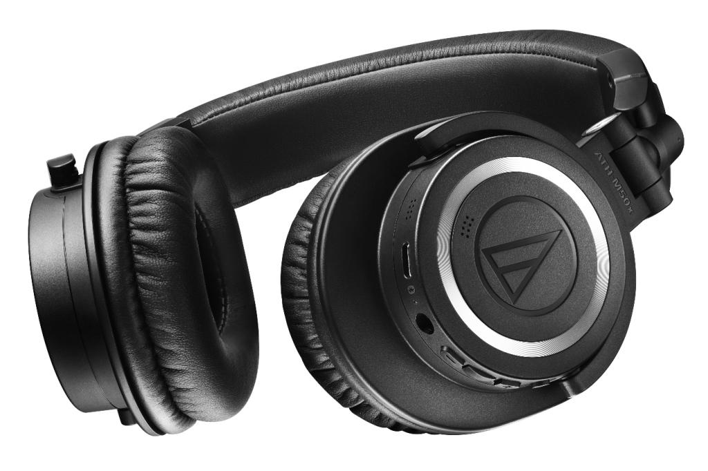 A big close-up of Audio Technica ATH-M50xBT2 headphones