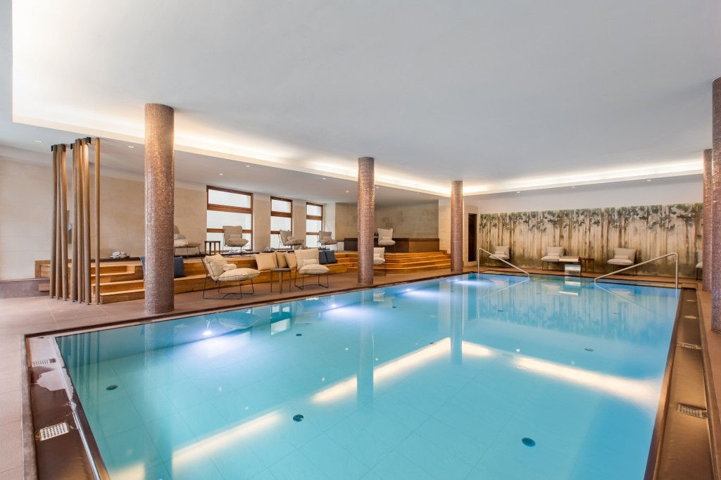Grand Hotel Savoia heated indoor pool looks inviting with warm blue waters