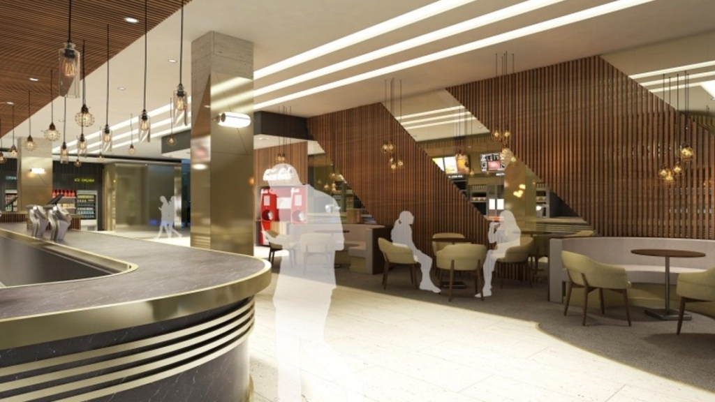 Artist impression of the foyer at the Odeon Luxe Leicester Square