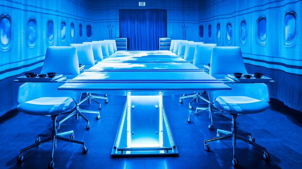The Sublimation dining room with projections resembles an aircraft interior