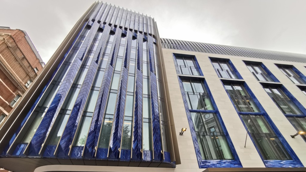 The striking gloss blue exterior of The Londoner hotel