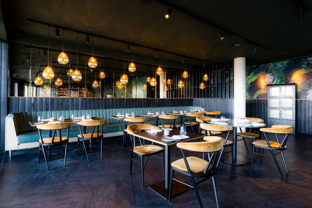 Stylish lighting distinguishes the interior of Walter on the Beach