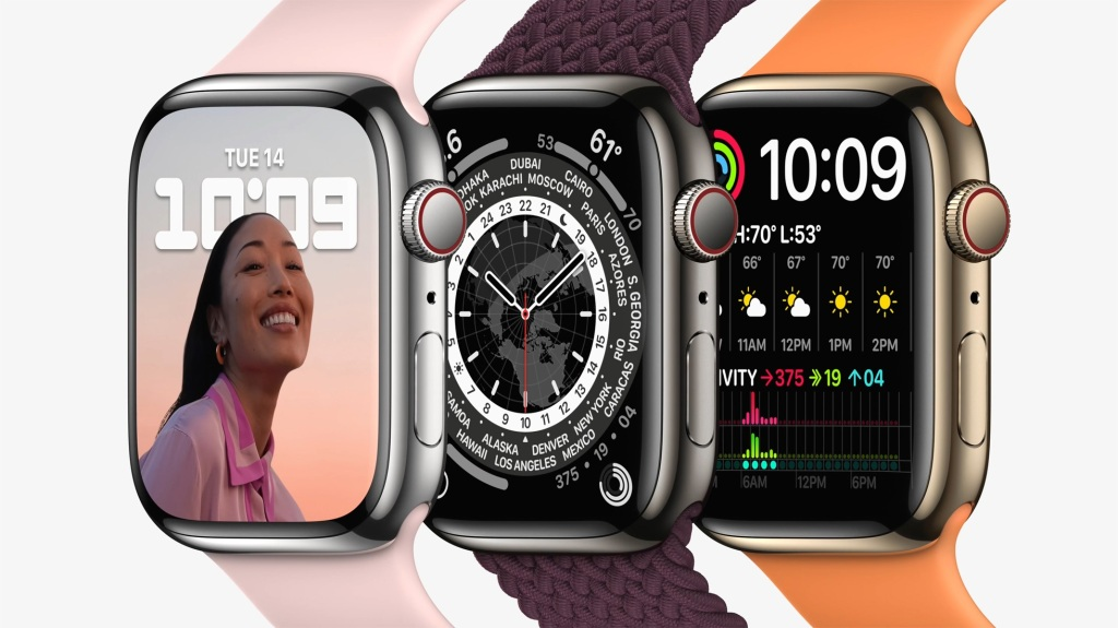 A trio of Apple Watch 7s
