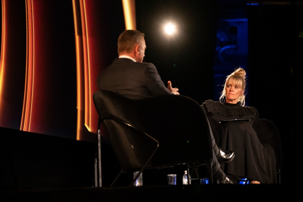 Edith Bowman interviews Daniel Craig on stage at the Odeon Leicester Square