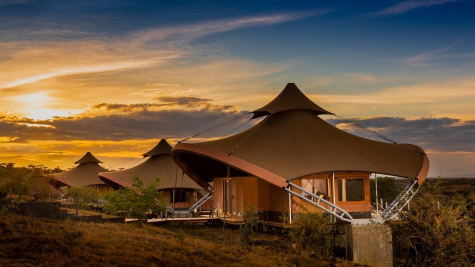 The mahali mzuri camp at sunset on the Kenyan plains