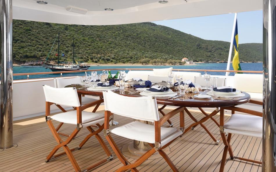 Lunch onboard the Azzurra II