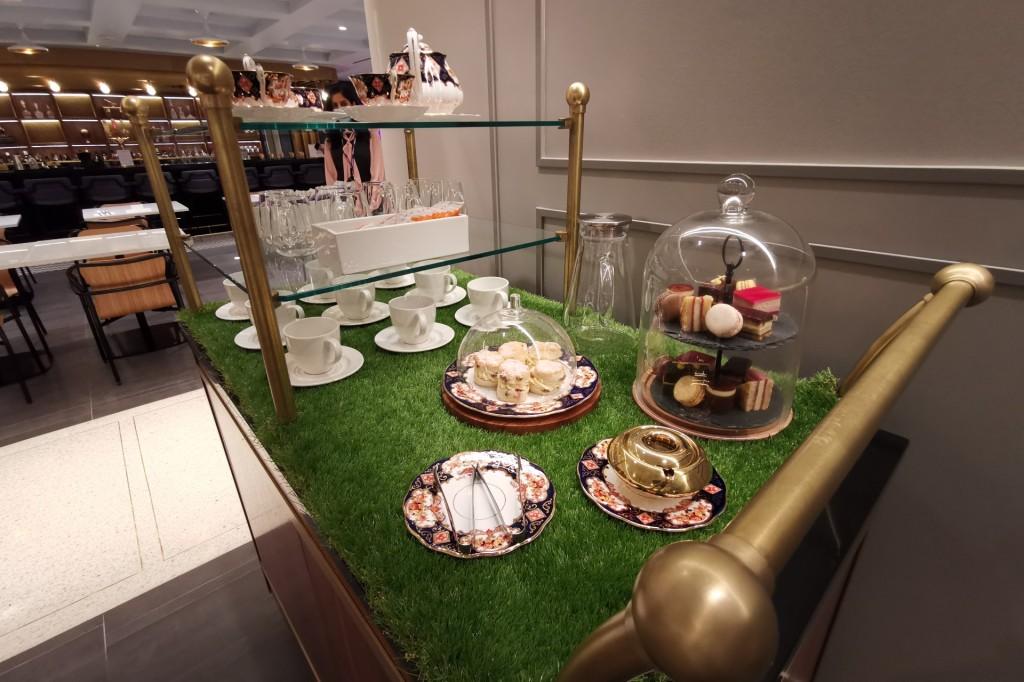 The tea cart at the Ammex Centurion lounge LHR