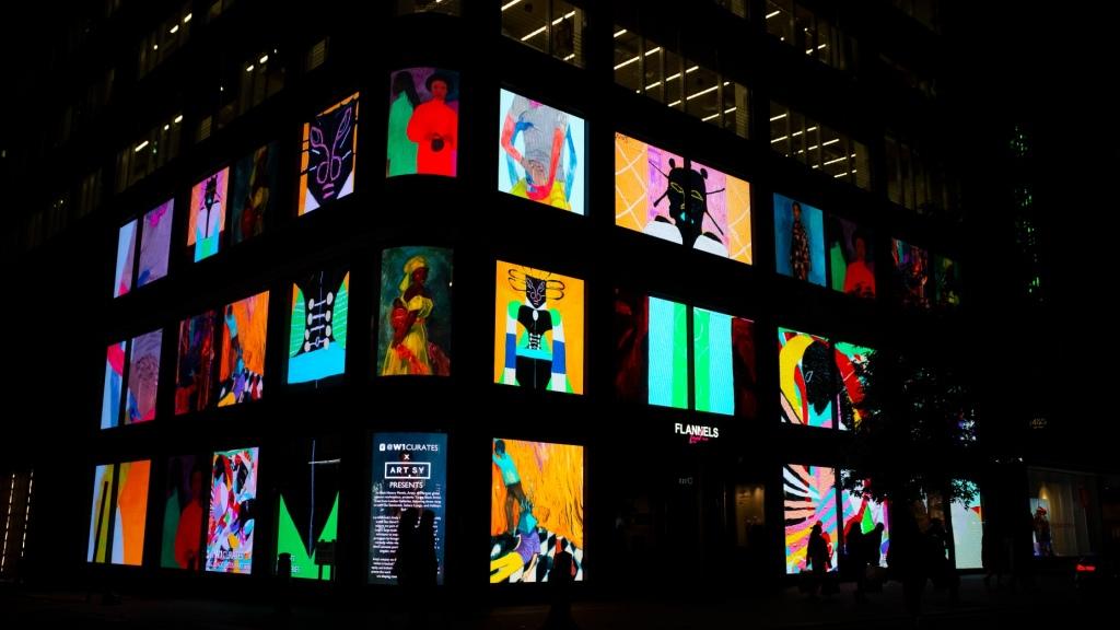 Digital art display for Black History month at Flannels