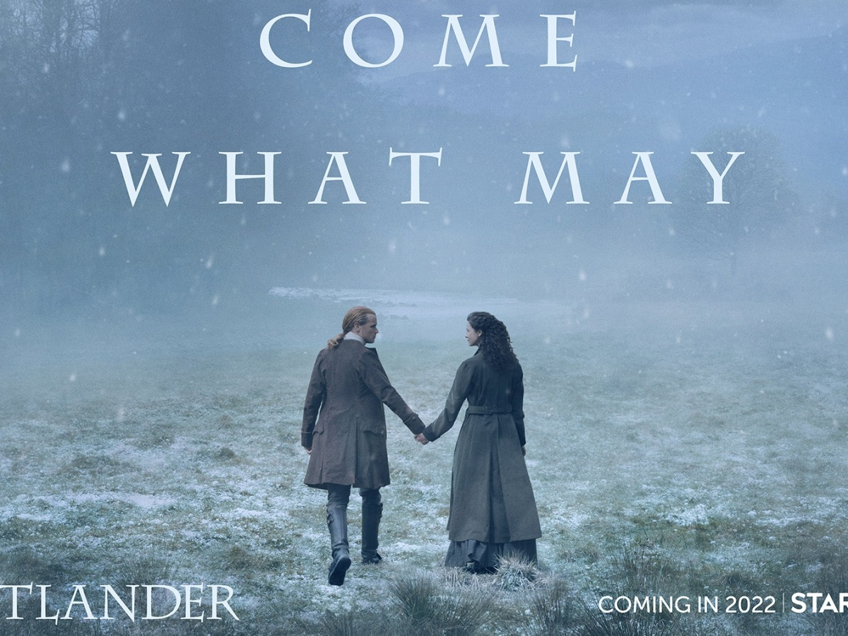 Outlander season six teaser art has Jamie and Claire walking hand in hand through the snow