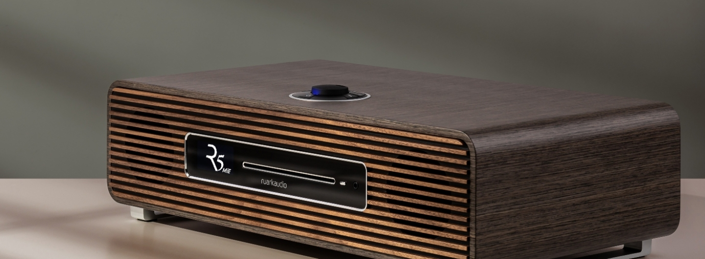 The Ruark Audio R5 MiE features artisan build quality with a wooden slat fascia