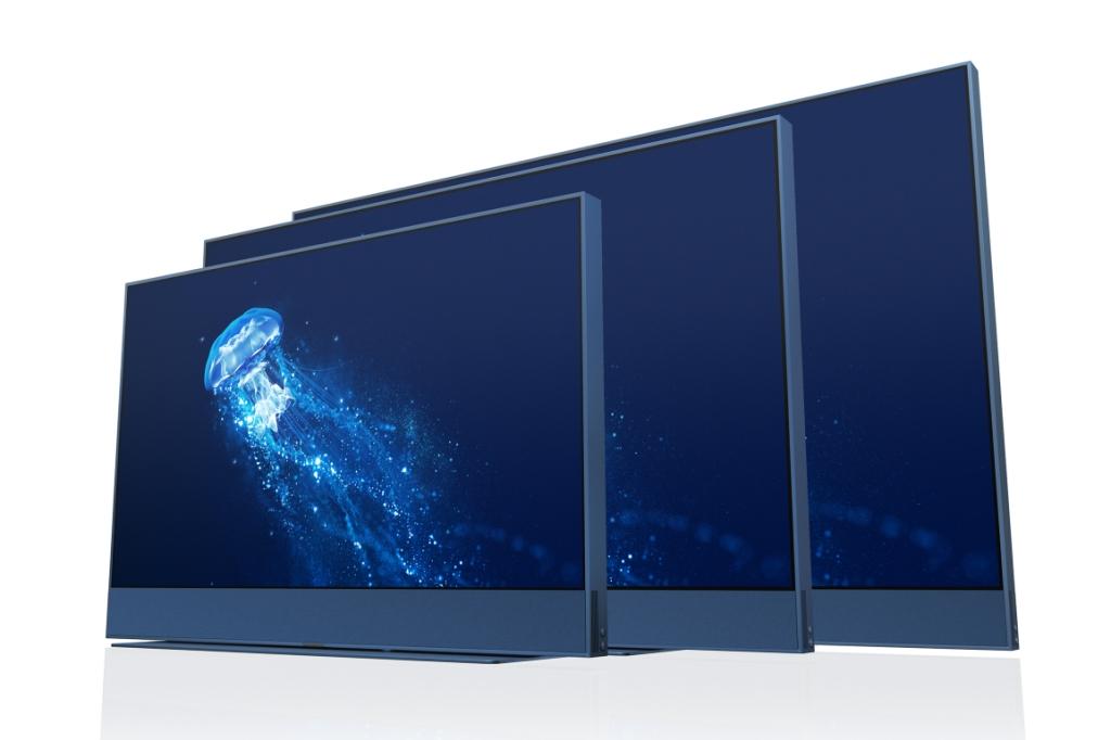 Three Sky Glass TVs in Ocean Blue