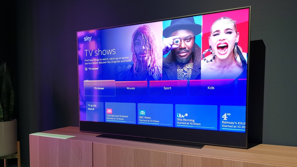 Sky Glass TV on furniture with a TV show screen