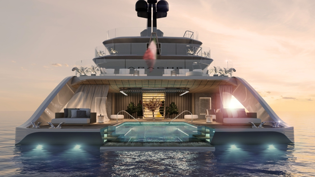 Tankoa Apache superyacht rear view with suspended flying pool