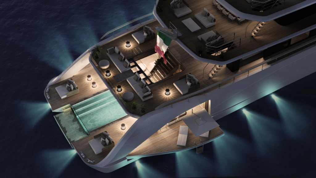 Top down view of the decks of the Tankoa Apache superyacht